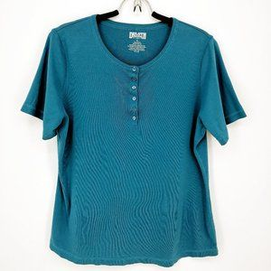 Duluth Trading Co. Men's Teal Quarter Button Tee